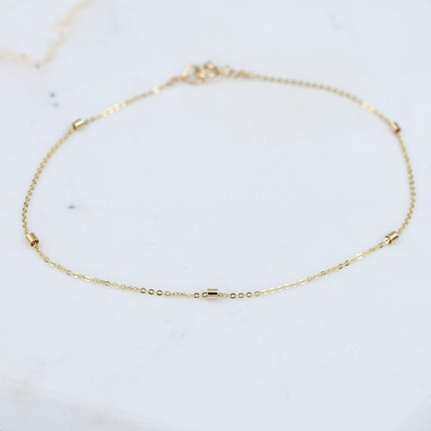 14K Gold 1.5mm bead Bracelet - Thin chain bracelet
