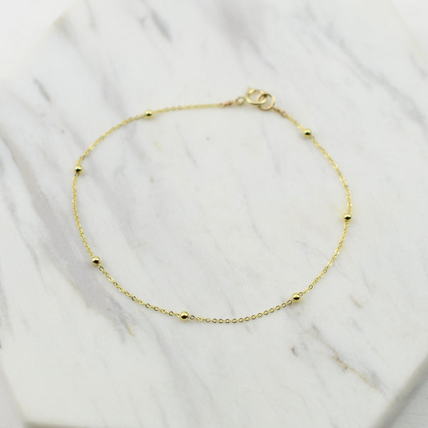 14K Gold Cable Chain with Beads Bracelet
