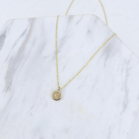 14K Gold Initial Necklace. Solid gold Delicate chain. 14K Gold Tiny Initial Charm Necklace.  Adjustable necklace