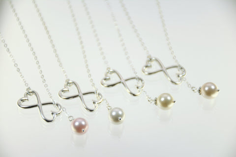 Bridesmaid necklace heart infinity set - Sash Jewelry