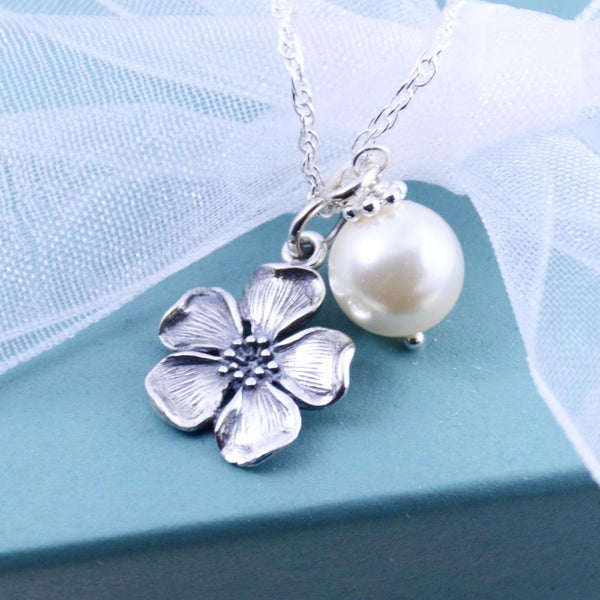 Cherry Blossom Charm Necklace - Flower Girl Gift - Sash Jewelry