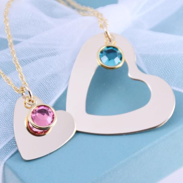 Mother Daughter Gold Heart Necklace Set - Sash Jewelry
