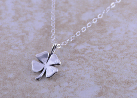Lucky four leaf clover pendant - Sterling silver necklace - Sterling silver clover charm