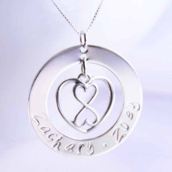 Personalized Heart Infinity Necklace - Sash Jewelry