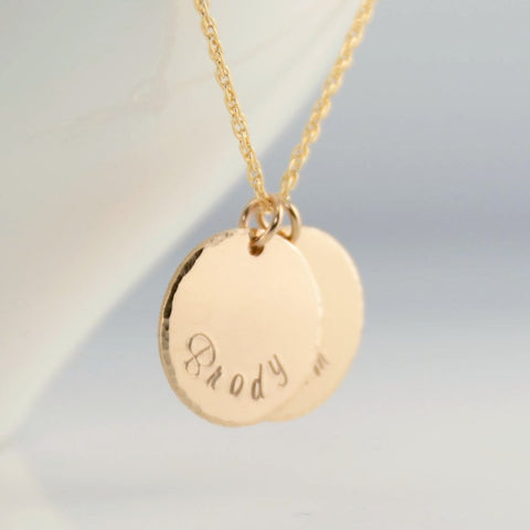 Personalized Gold Filled Disc Necklace - Sash Jewelry
