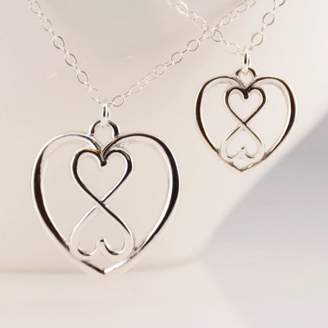 Mother Daughter Heart Infinity Necklace Set - Sash Jewelry