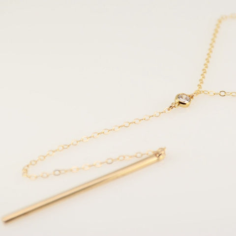 Gold Y necklace - Sash Jewelry