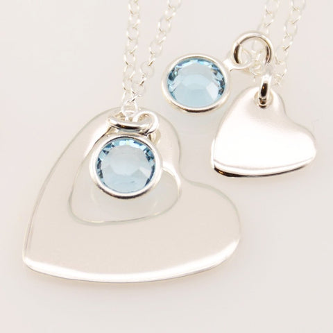 Heart Cutout Mother Daughter Necklaces - Sash Jewelry