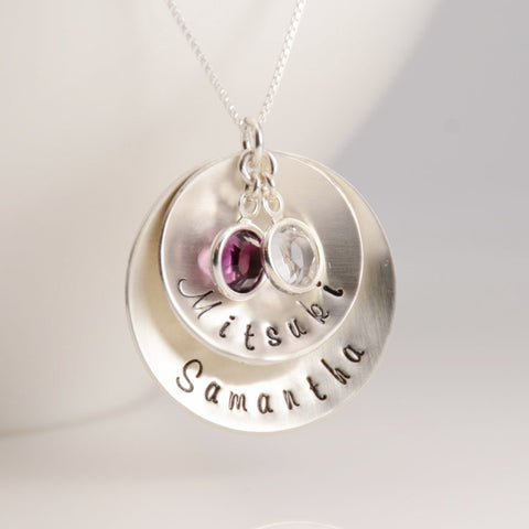 Personalized Disc Necklace - Sash Jewelry