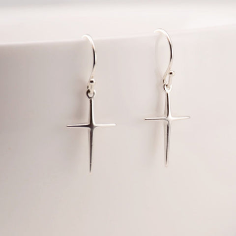 Sterling silver cross earrings - Sash Jewelry