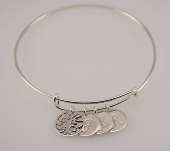 Family tree bracelet. Tree of life bracelet. Sterling silver tree bangle bracelet. Gift for Grandma