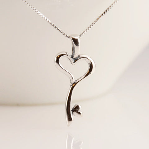 Heart Key Charm Necklace - Sash Jewelry