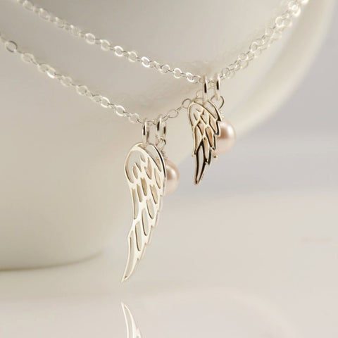 Angel Wing Necklace Set for Mom and Her Little Angel - Sash Jewelry