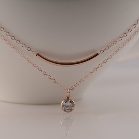 Rose gold layered necklace set - Sash Jewelry