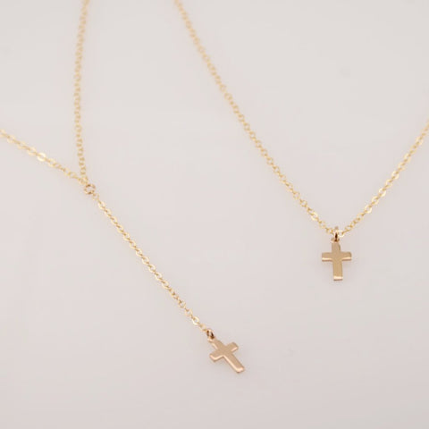 Delicate Y cross necklace - Sash Jewelry