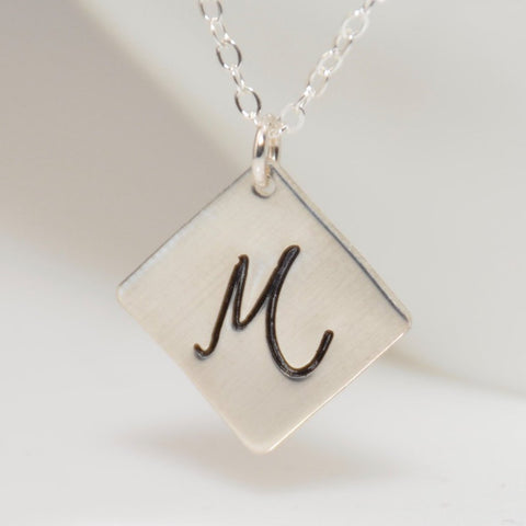 Personalized Square Disc Necklace - Sash Jewelry