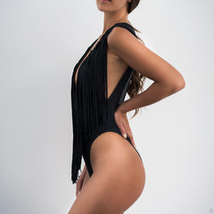 Black Fringes One Piece