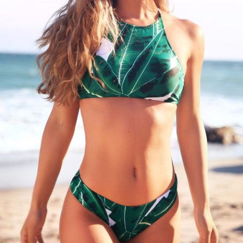 Jungle Green Halter Bikini