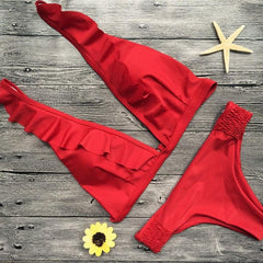 Red Ruffled Bikini