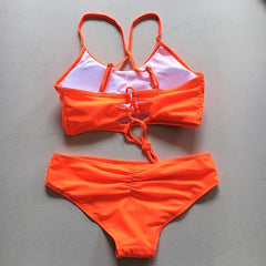 High Neck Neon Bikini