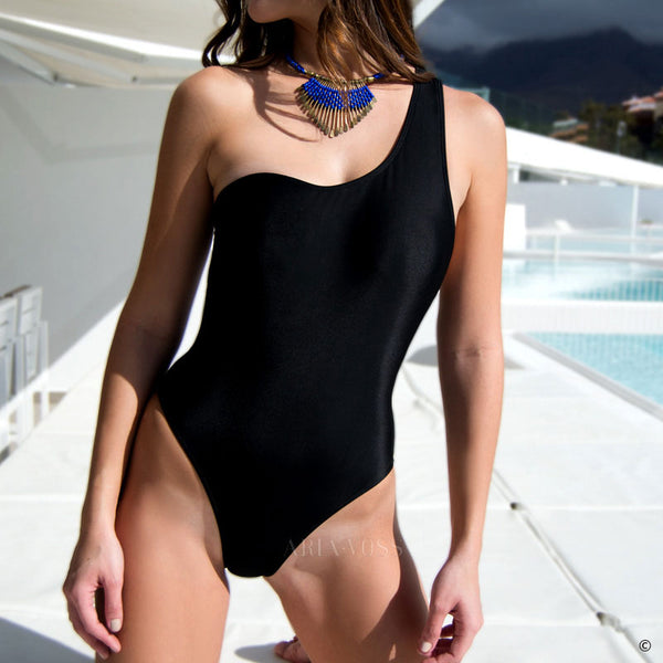 Bandage Vintage One Shoulder Swimsuit