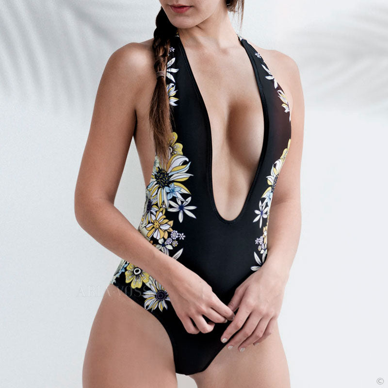 Cute Floral Brazilian One Piece