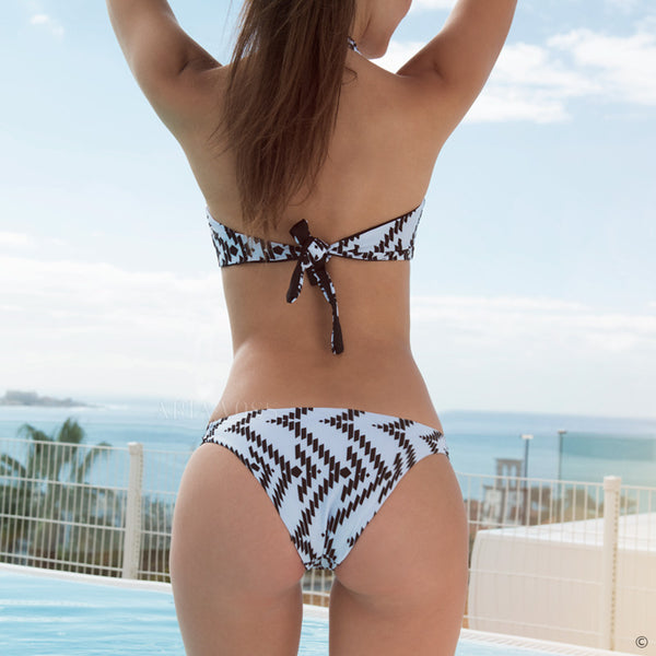 High Neck Strip Print Bikini