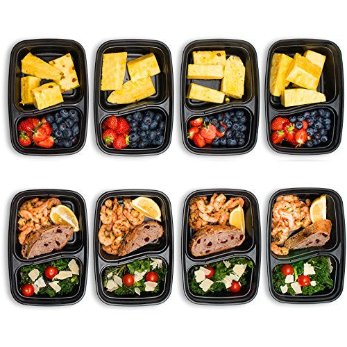 meal prep stackable 2 compartment food containers with lids 7 pack legit fit. Black Bedroom Furniture Sets. Home Design Ideas