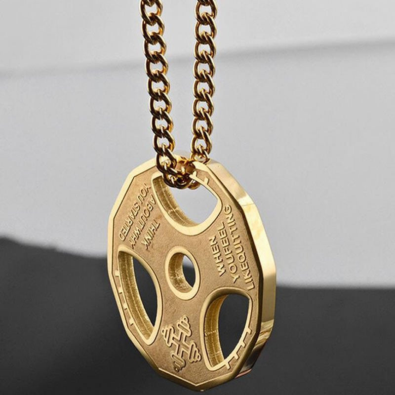 dp gym necklace gold amazon fitness pendant jewelry com gift dumbbell