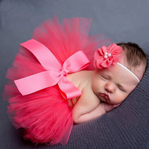 New 2017 Newborn Tutu Skirt Matching Headband