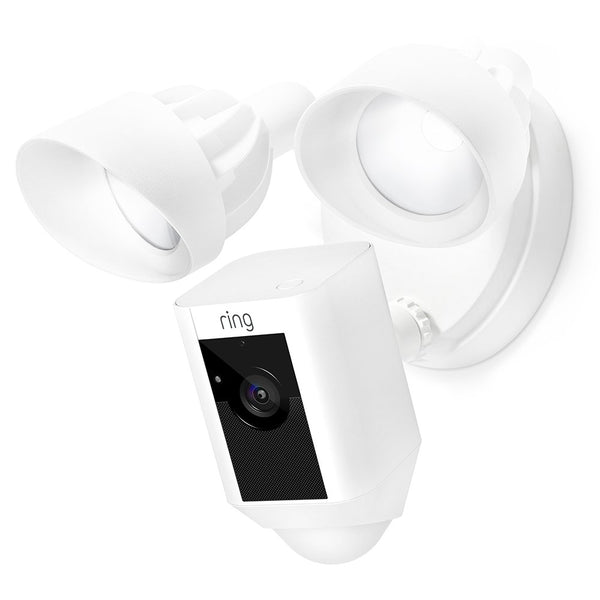 Ring Floodlight Camera Motion-Activated HD Security Cam Two-Way Talk and Siren Alarm - White