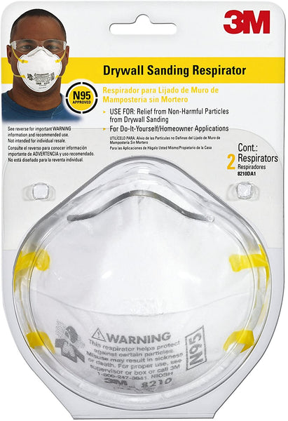 3M Performance Drywall Sanding Face Mask - N95 -8210 - 2 Pack