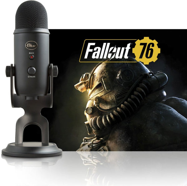 Blue Microphones - Blackout Yeti USB Multi-Pattern Condenser Microphone + Fallout 76 Bundle