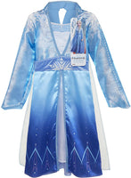 Disney Frozen 2 Elsa Adventure Dress Girls Costume Features Ice Crystal Winged Cape, Sleek Dress Cut with Glittery, Frosty Trim - Fits Sizes 4-6X, For Ages 3+