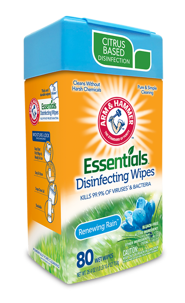Arm & Hammer Essentials Disinfecting Wipes - Renewing Rain Scent 80 Wipes