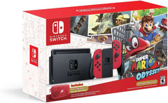 Nintendo Switch Special Edition Console + Super Mario Odyssey Game + Red Left Joy-Con, Red Right Joy-Con + Carry Case