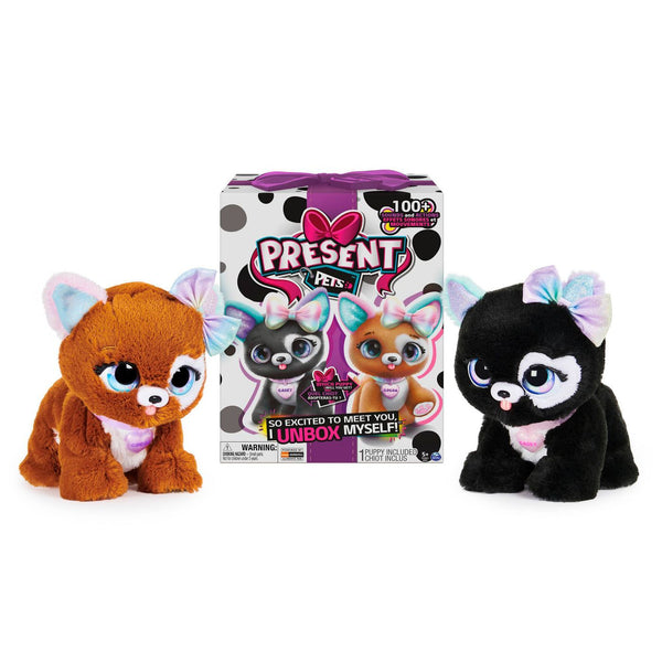 Present Pets Fancy Puppy - Interactive Plush Pet Toy (Purple)