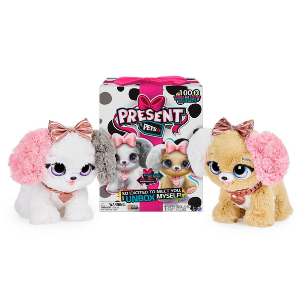 Present Pets Fancy Puppy - Interactive Plush Pet Toy (Pink)