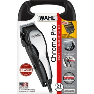 Wahl Chrome Pro Men's Haircut Kit With Adjustable Taper Lever and Hard Storage Case - 91325-002