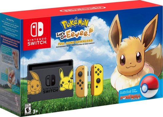 Nintendo Switch Console Pikachu & Eevee Edition with Pokémon: Let's Go, Pikachu! Game and Poké Ball Plus Accessory