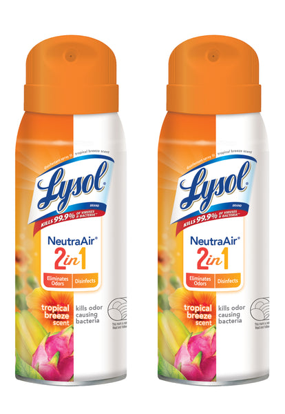 Lysol Spray, Neutra Air 2 in 1 - Tropical Breeze (10 oz), 2 Pack Bundle