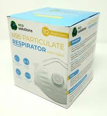 Eco Solutions N95 Particulate Face Mask Respirator W/Exhale Valve - 10 Masks