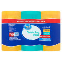 Great Value Disinfecting Wipes - 3 Pack Bundle - 225 Wipes