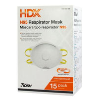 HDX N95 Face Mask Respirator Valve Box - 15 masks.