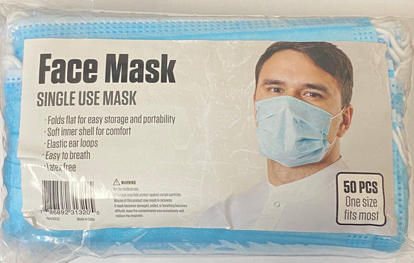 Surgical Style Face Mask for Single Use - 50 Masks