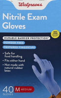Walgreens, Nitrile Exam Glove - 40 Gloves (Medium)