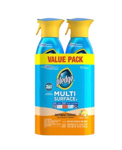 Pledge Multi Surface Antibacterial Everyday Cleaner Spray, 9.7 oz, 2 pk Fresh Citrus