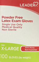 Leader, Powder Free Latex Exam Gloves - 100 Gloves (X-Large)