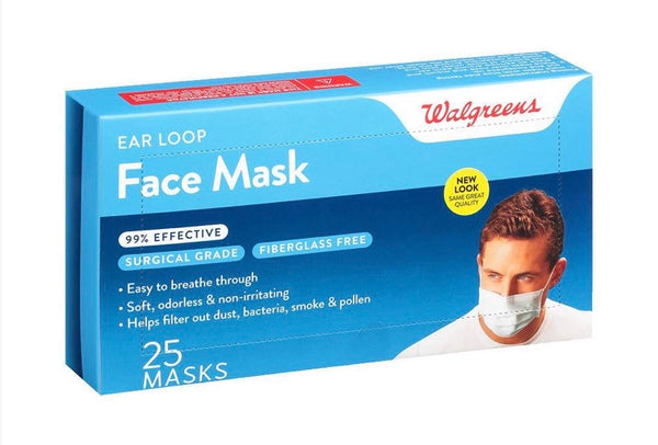 Walgreens, Earloop Style Face Mask - 25 Masks