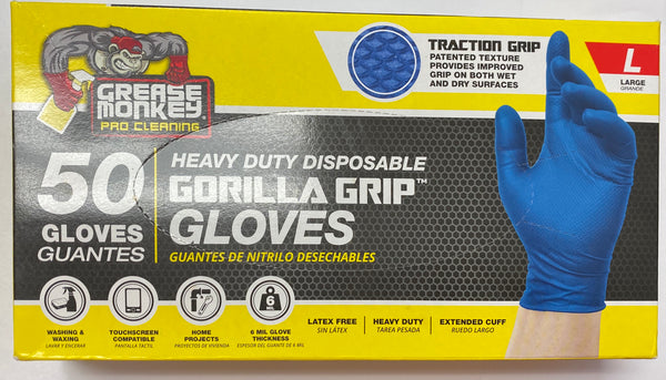 Grease Monkey Pro Cleaning, Heavy Duty DisposableGorilla Grip Gloves - 50 Gloves (Large)
